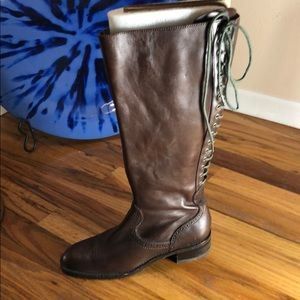 Adjustable Brown Knee High Leather Boots w/Zipper